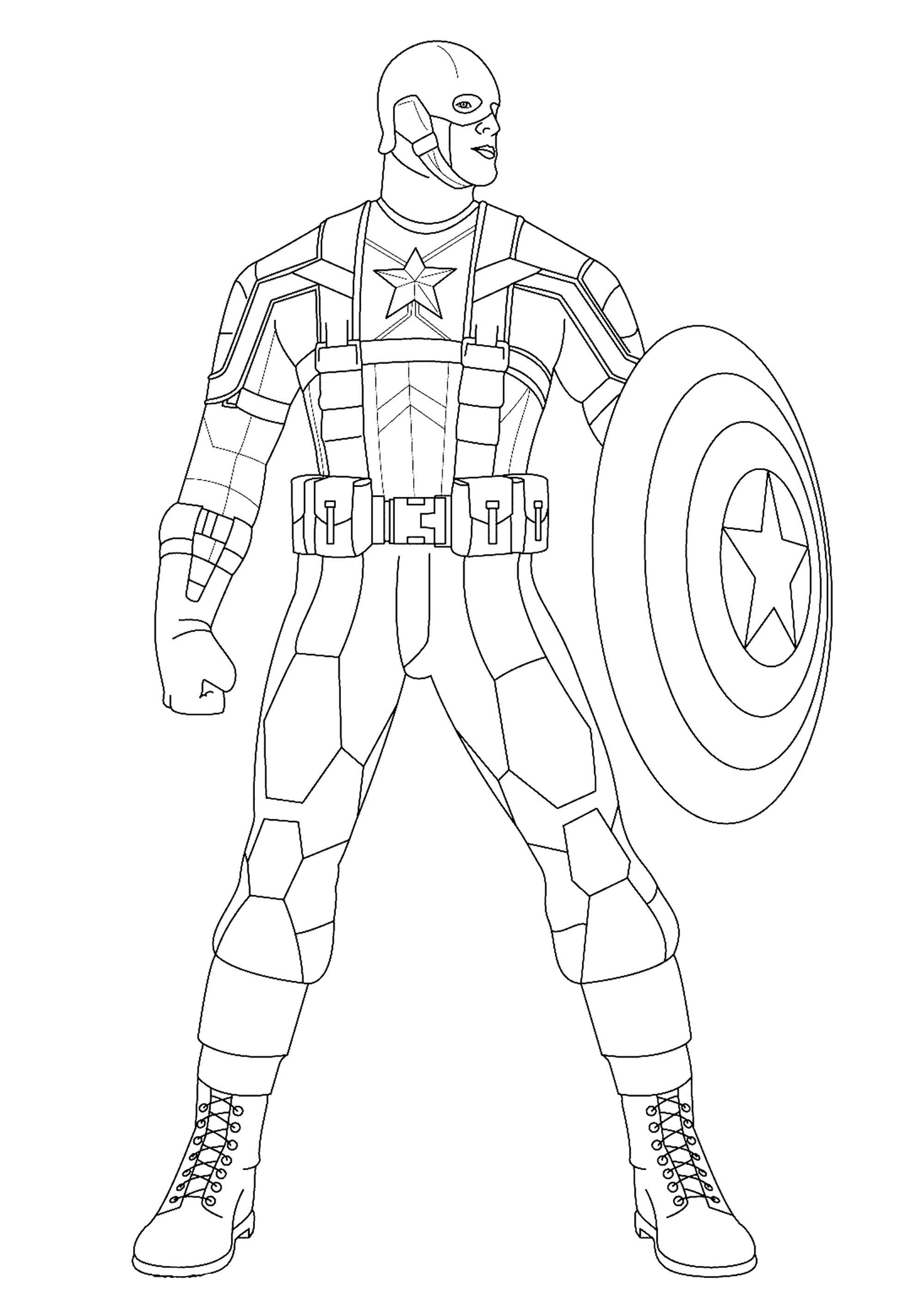 Simple coloriage de Captain America pour enfants