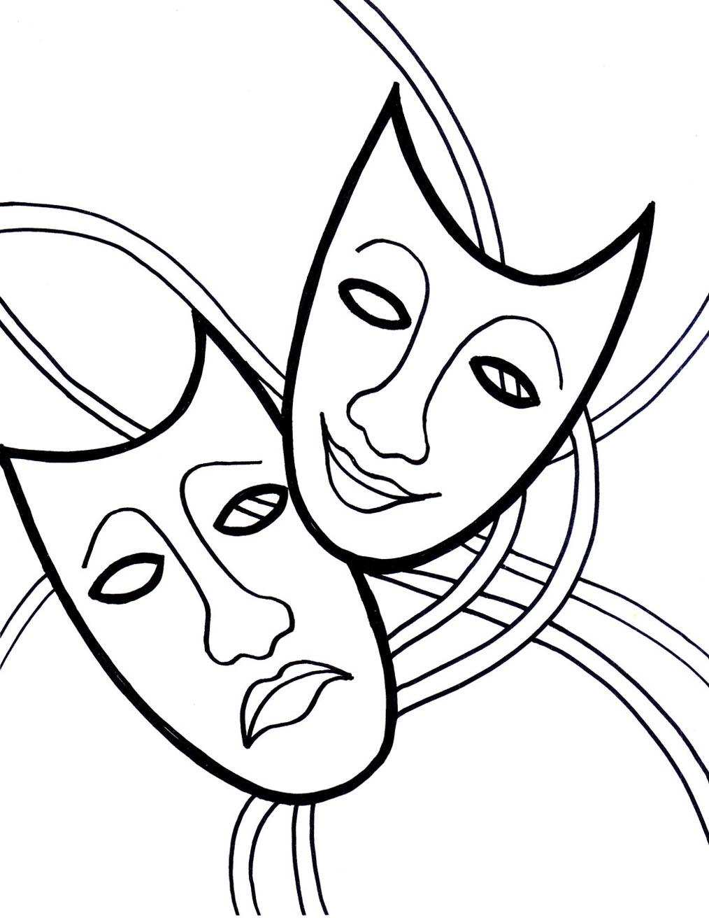 Carnaval masques content triste coloriage carnaval - Dessin de masque de carnaval ...