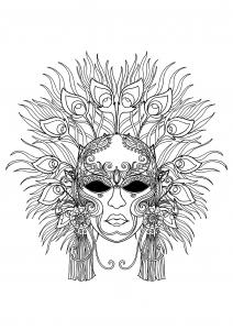 Un Masque du Carnaval de Venise à colorier