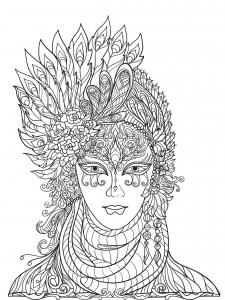 Joli masque du Carnaval de Venise avec des plumes