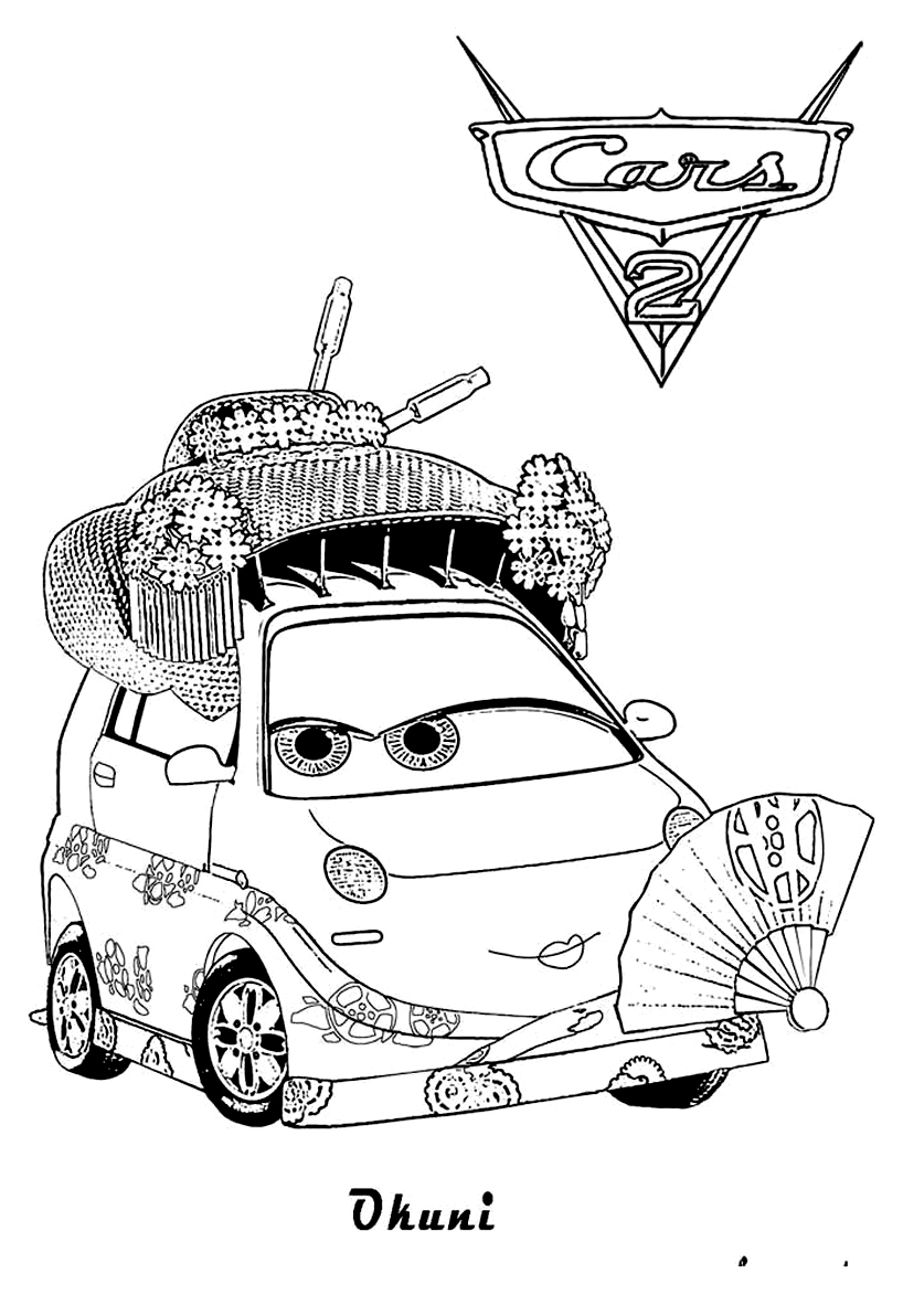 Cars 2 Jeff Corvette Coloring Page Sketch Coloring Page