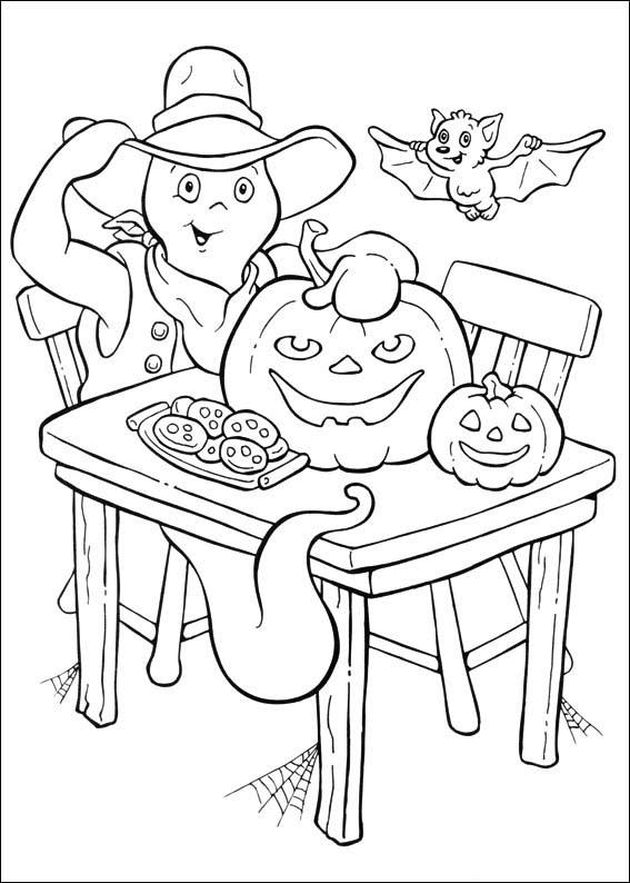 Casper avec Citrouille à colorier