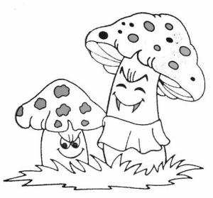 Coloriage de champignon pour enfants