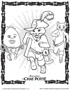 Coloriage de Le Chat potté gratuit à colorier