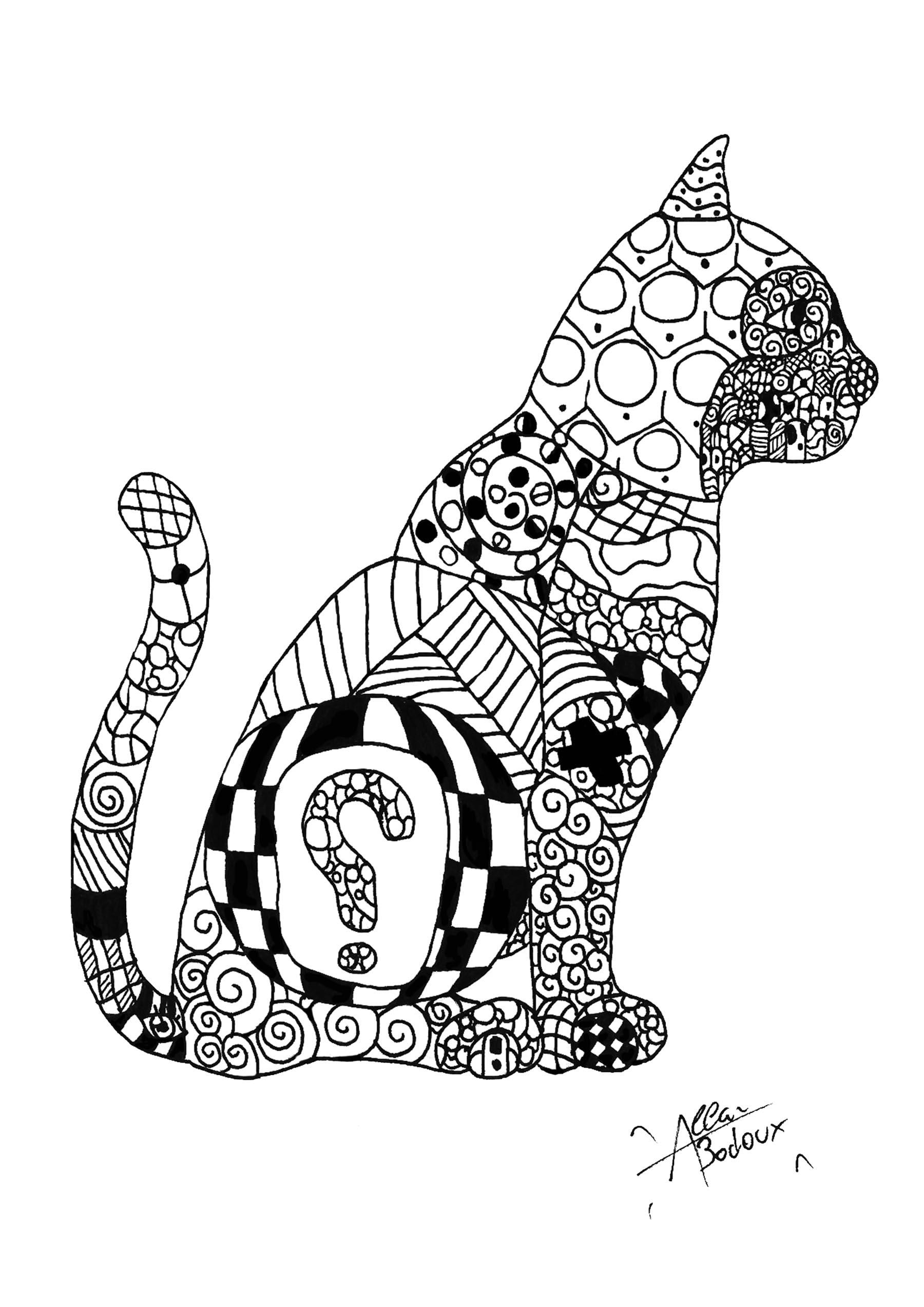 Coloriage de chat à imprimer gratuitement - Coloriages de Chats - Coloriages pour enfants