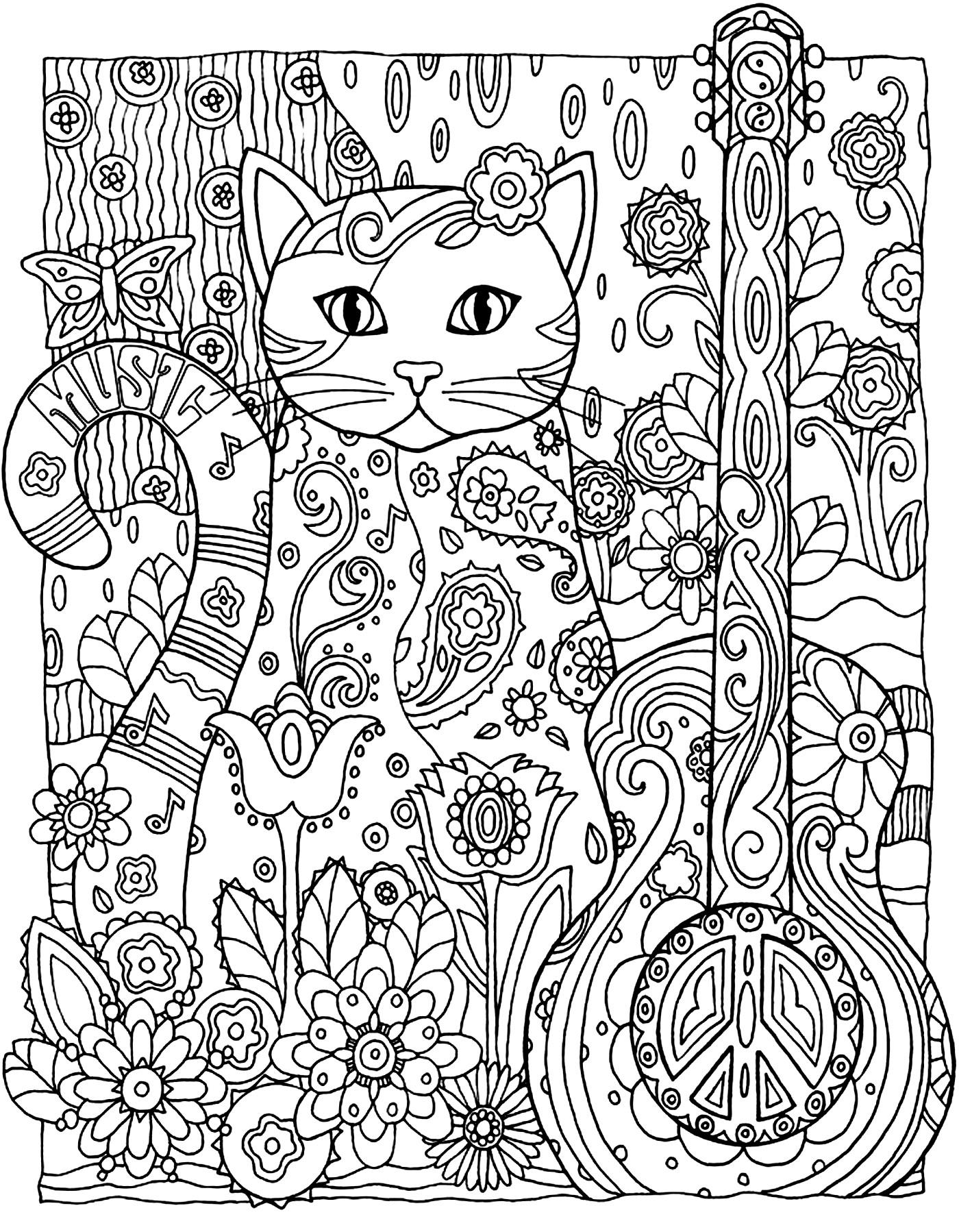 Chat magnifique coloriages de chats coloriages pour enfants - Coloriage magnifique ...