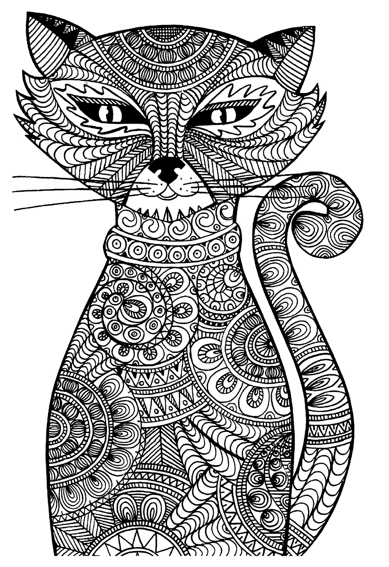 Chat zentangle coloriages de chats coloriages pour enfants - Jeux de coloriage de chat ...