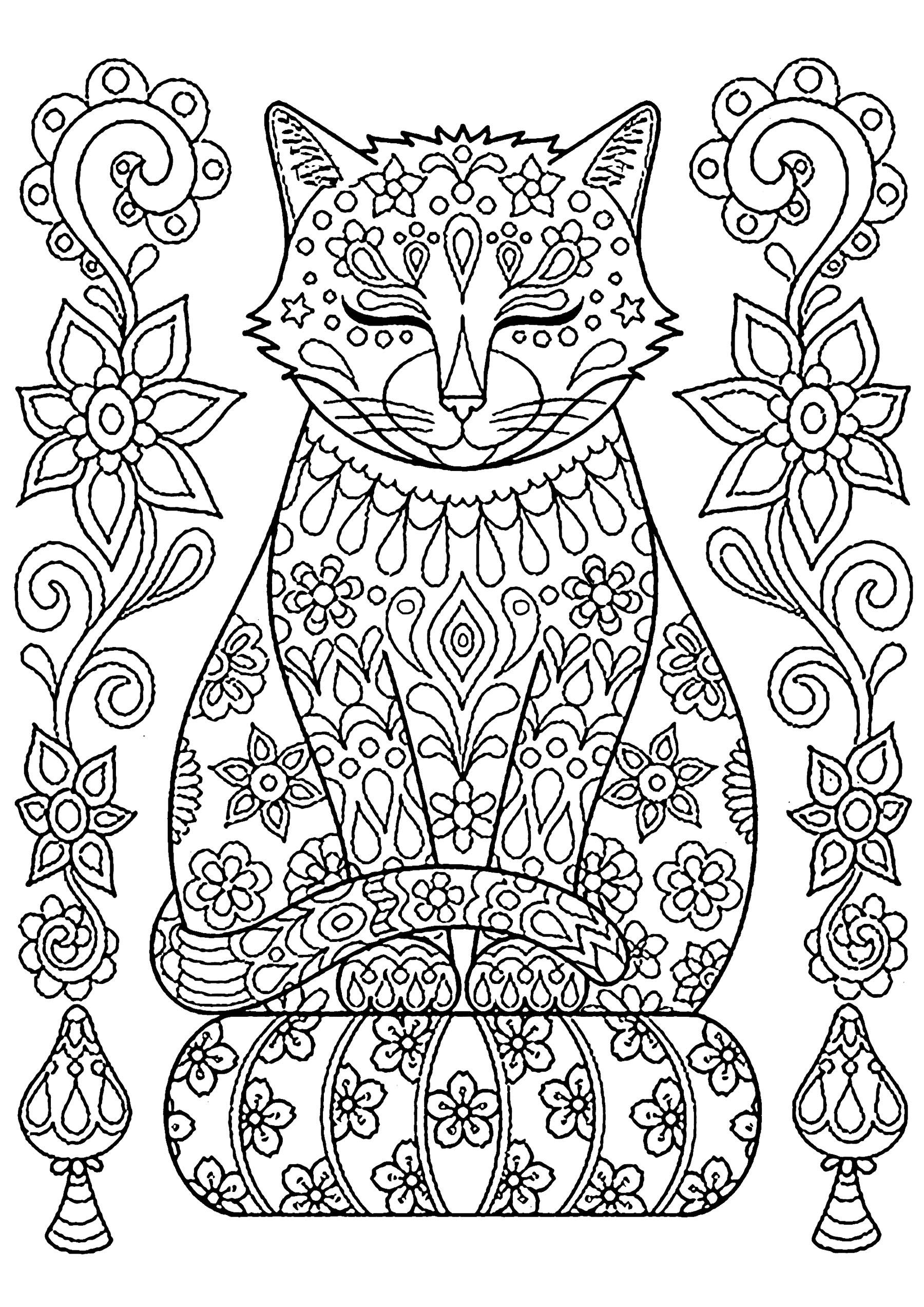 Coloriage de chat à imprimer - Coloriages de Chats ...