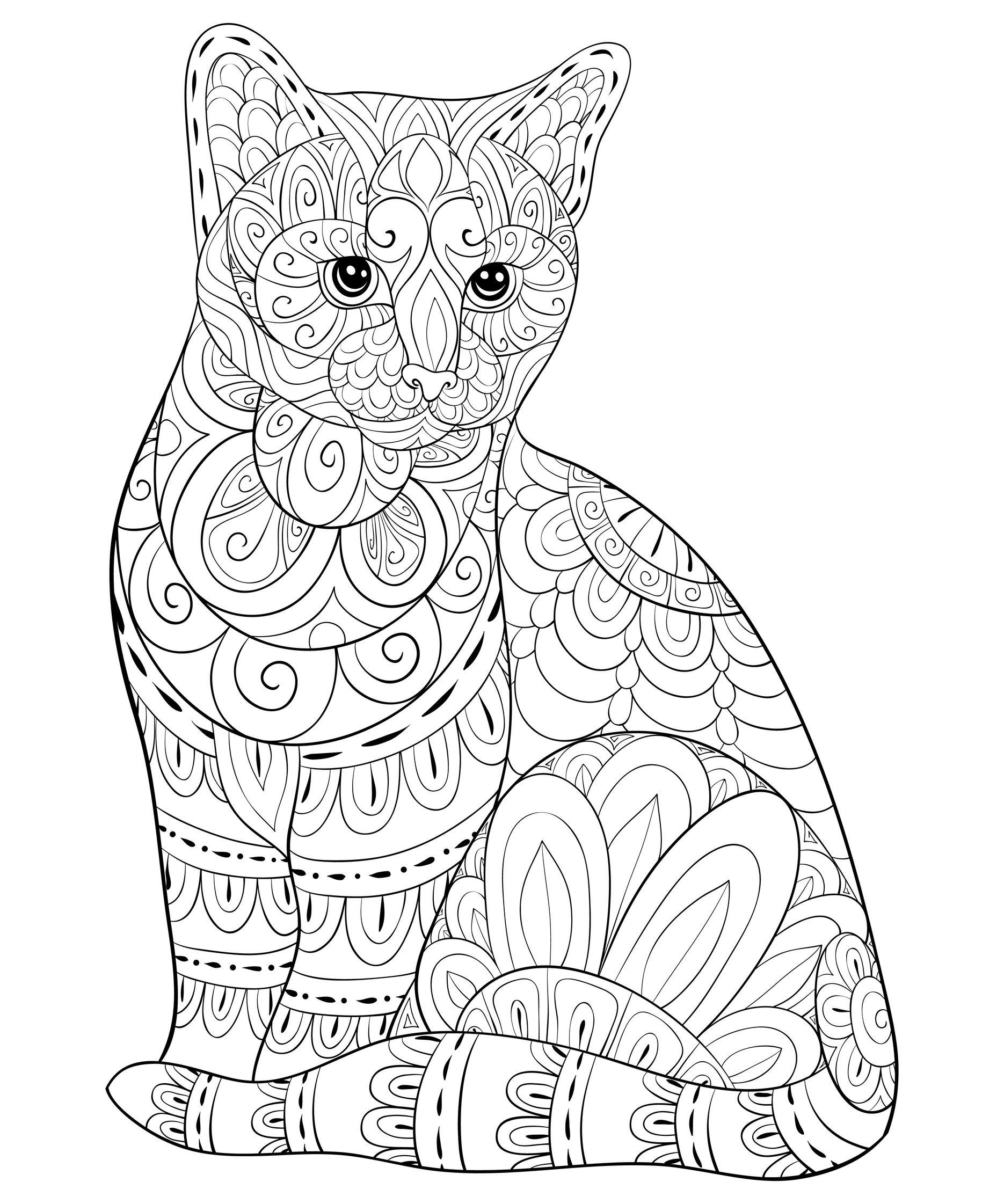 Chat à colorier avec motifs Zentangle - Coloriages de ...