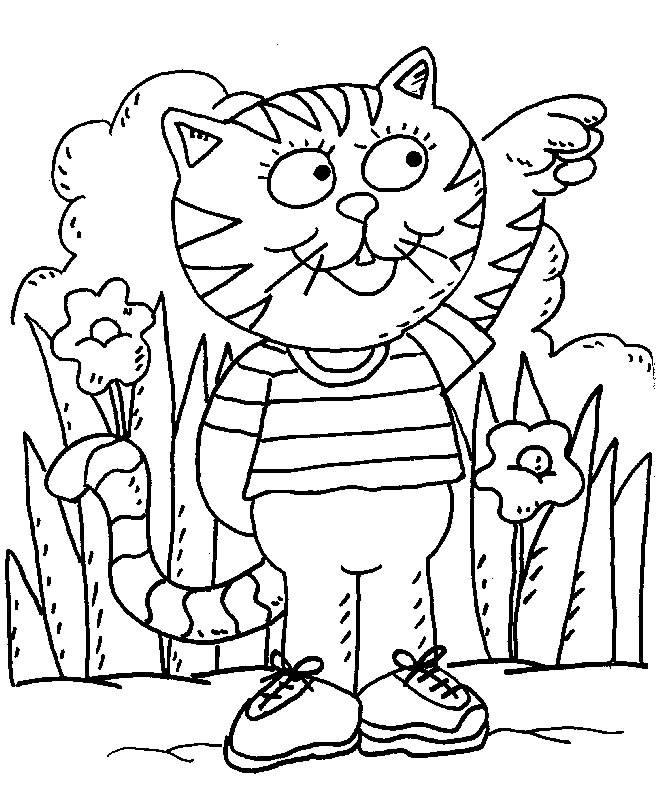 Personnage chat à colorier