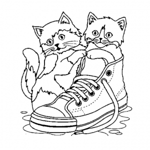 Chats dans basket free to print