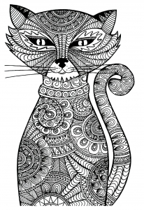 coloriage-chat-zentangle