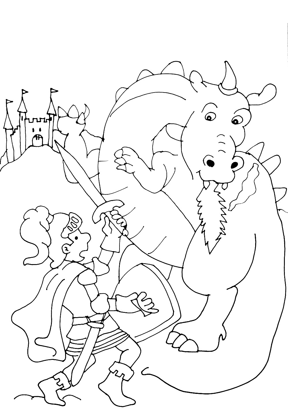 Chevaliers dragons 1 coloriage chevaliers et de dragons - Coloriages de dragons ...