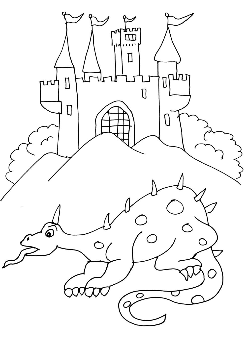 Un dragon devant un chateau