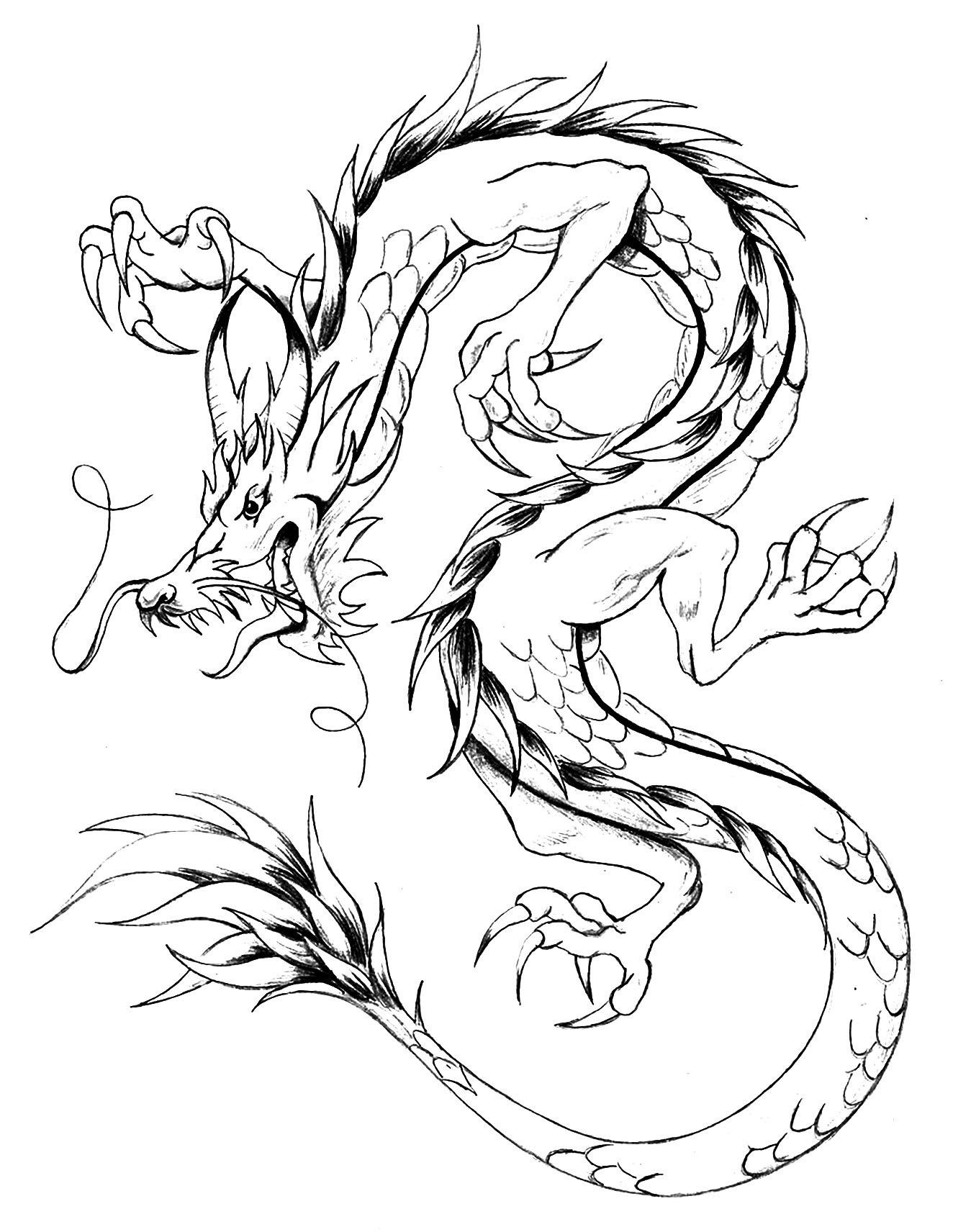Un coloriage facile de dragon, style japonais