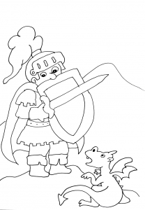 Coloriage chevaliers dragons 5