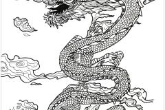 coloriage de dragon dans les nuages
