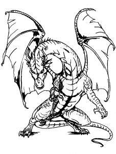 Dessin de chevaliers et dragons gratuit à télécharger et colorier