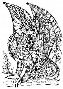 coloriage gratuit dragon complexe