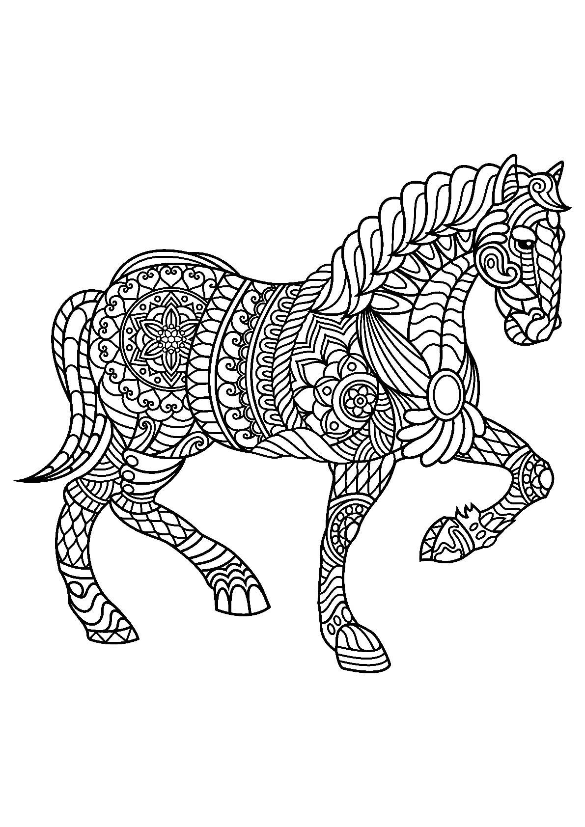 El gant cheval Coloriages de