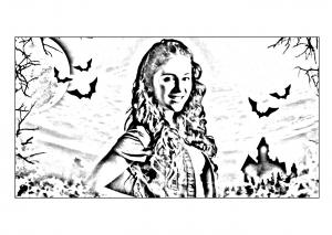 Coloriage chica vampiro daisy devant son chateau