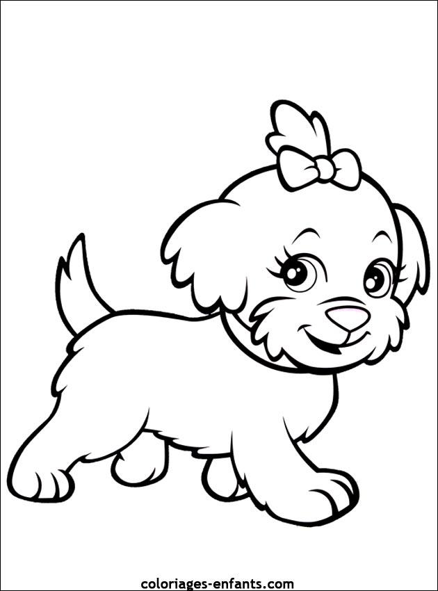 Coloriage de petite chienne gentille coloriages de - Coloriage de chien ...