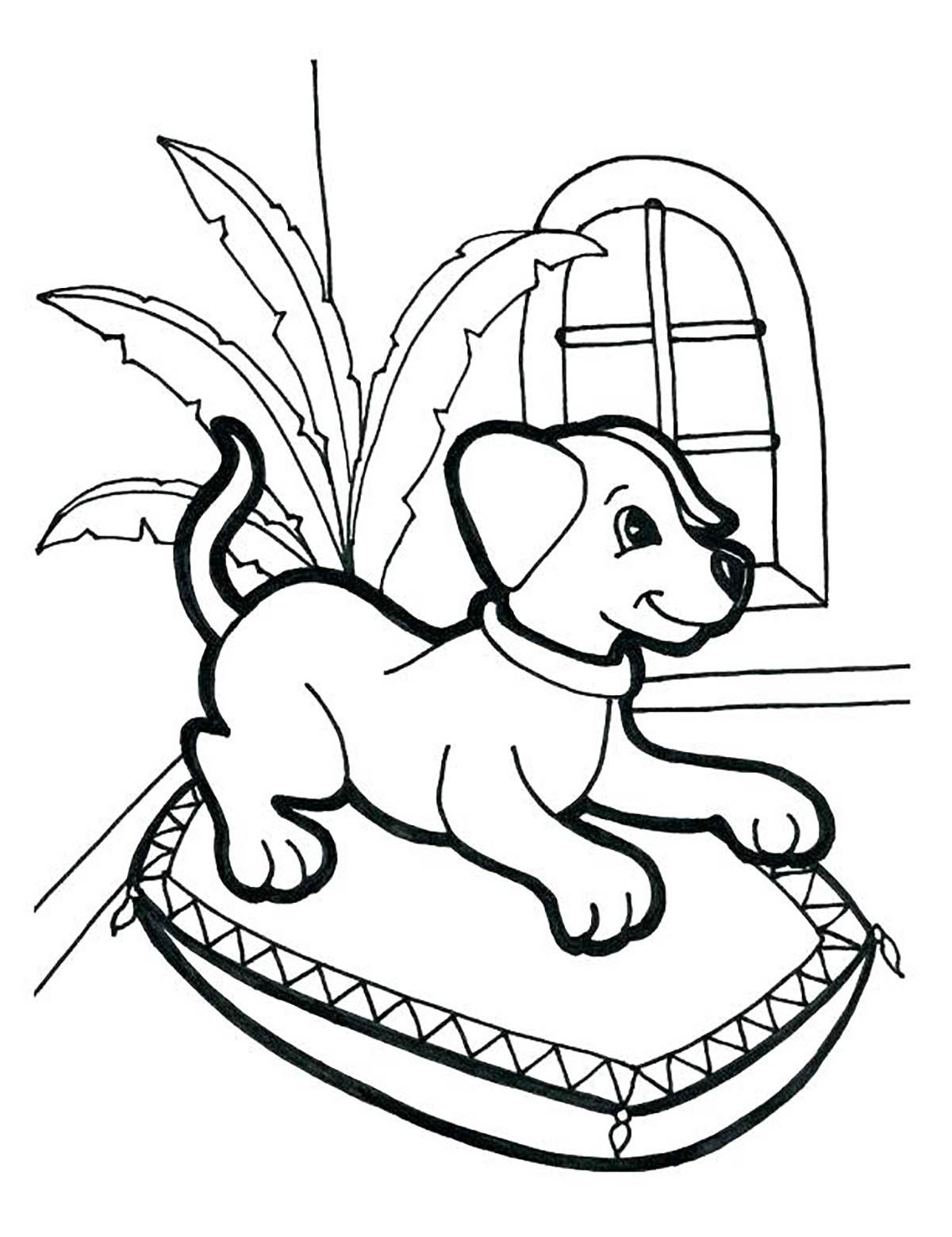 Chien au panier - Coloriages de chiens - Coloriages pour enfants