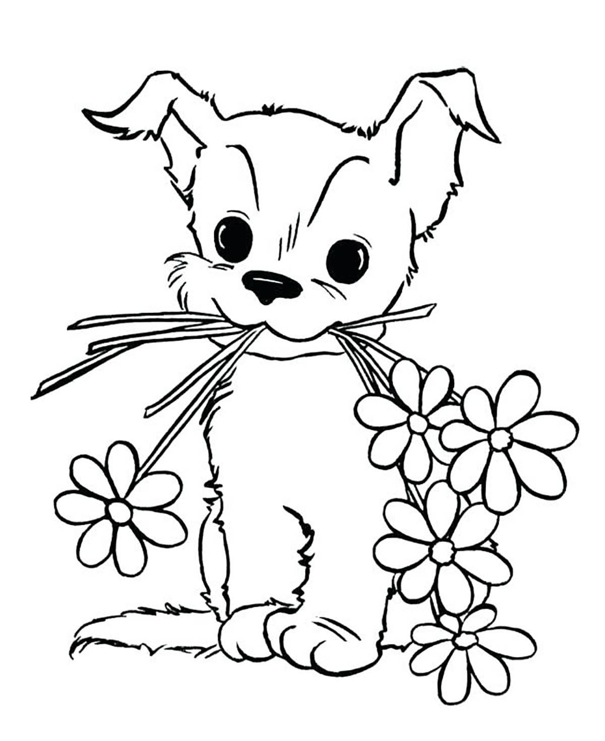 Chien et fleurs - Coloriages de chiens - Coloriages pour ...