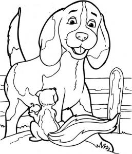 Coloriage de chien avec écureuil