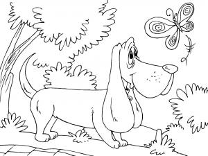 Coloriage de chien avec papillon