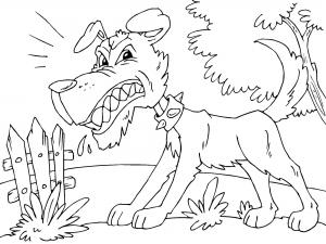 Coloriage de chien furieux