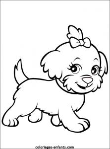 Coloriage de petite chienne gentille