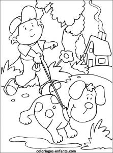 Coloriage de chien avec fille