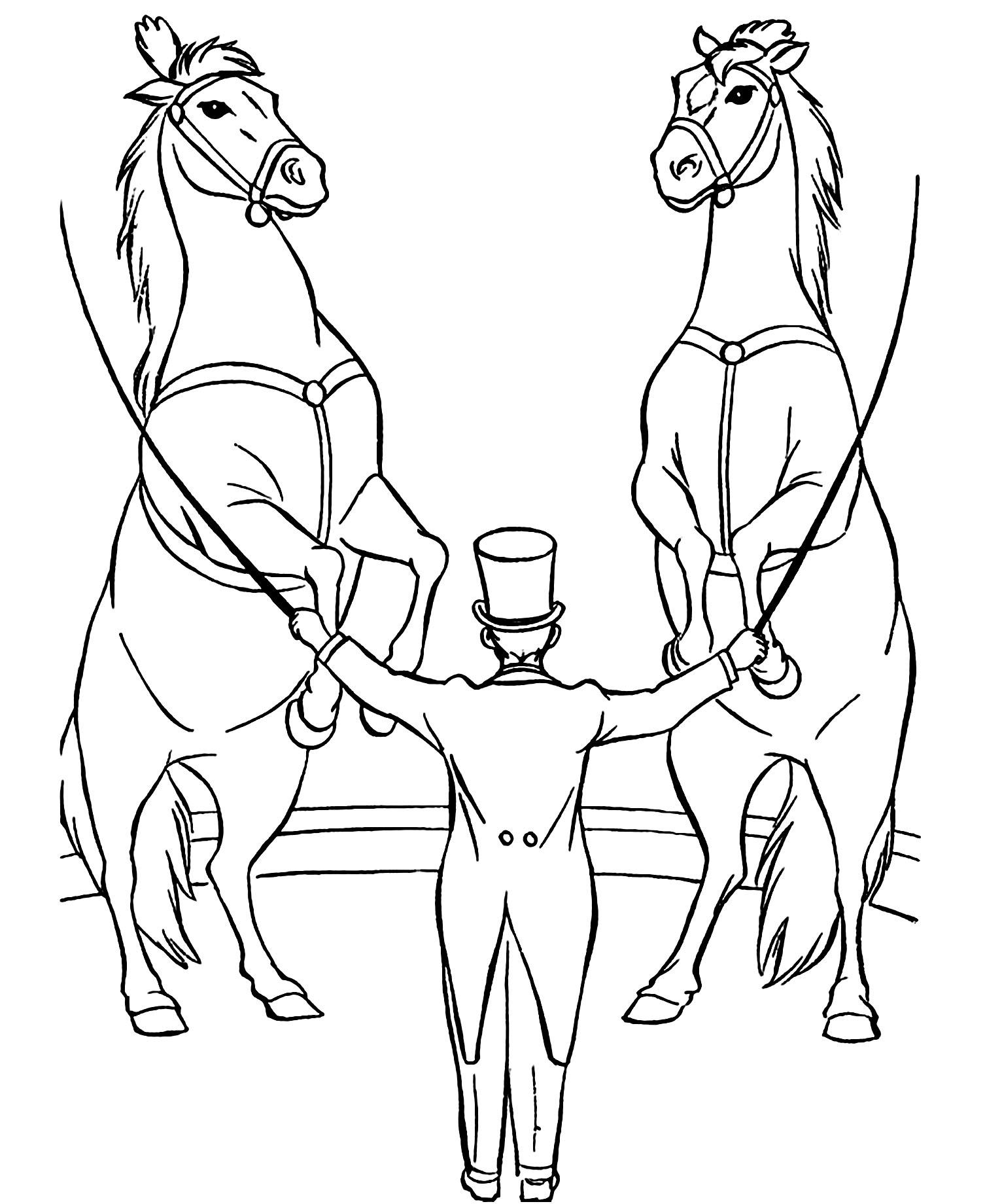 Simple coloriage de Cirque pour enfants