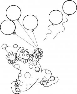 Clown et ballons free to print