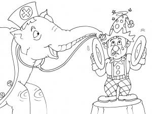 Coloriage éléphant de cirque free to print