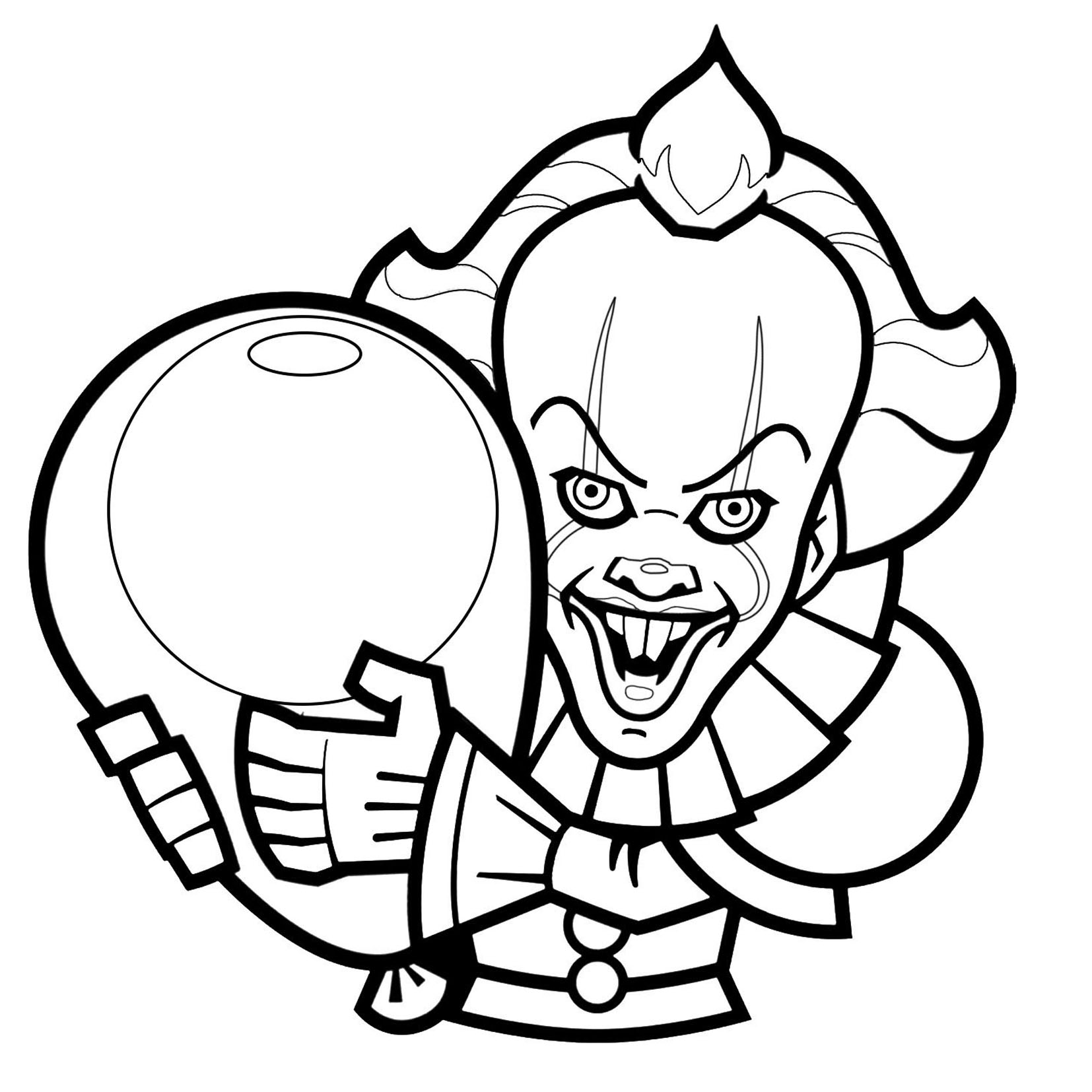 Coloriage Clown Ca.Clown De Ca Version 1 Coloriage Halloween Coloriages