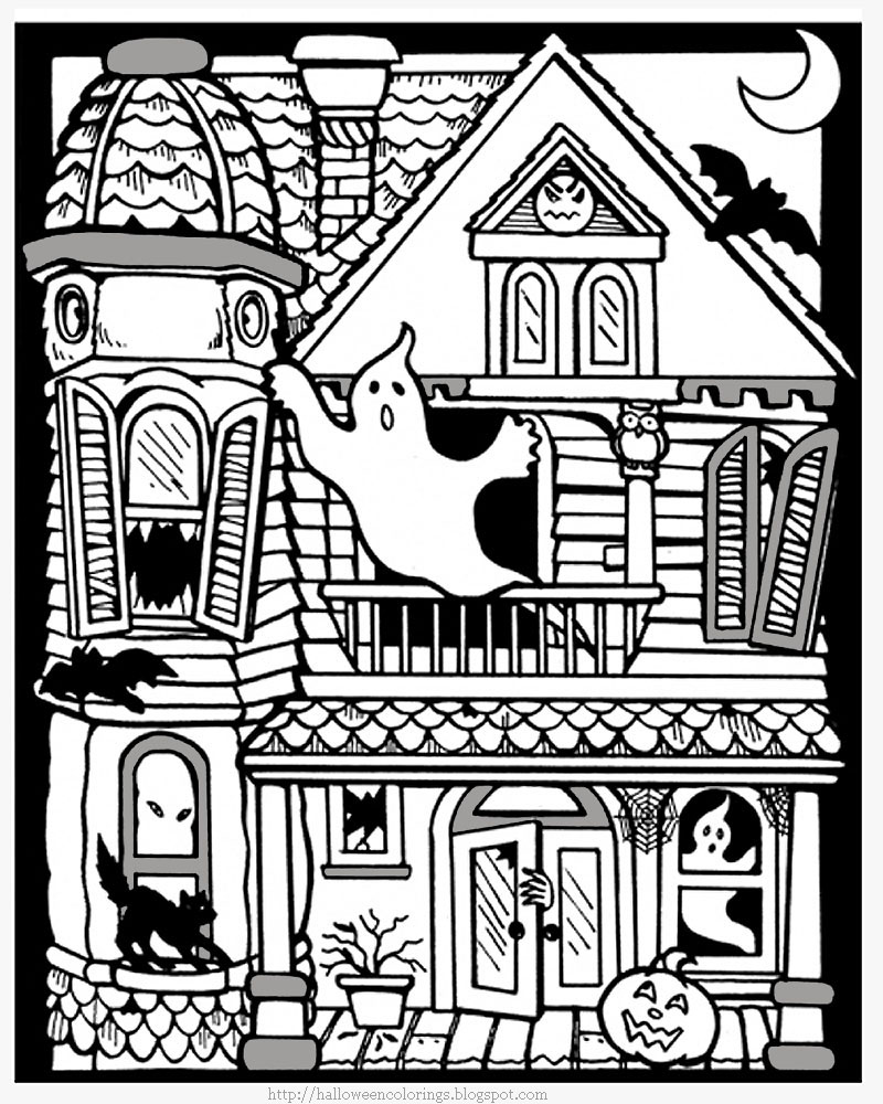 Gratuit Halloween Maison Hantee Coloriage Halloween Coloriages