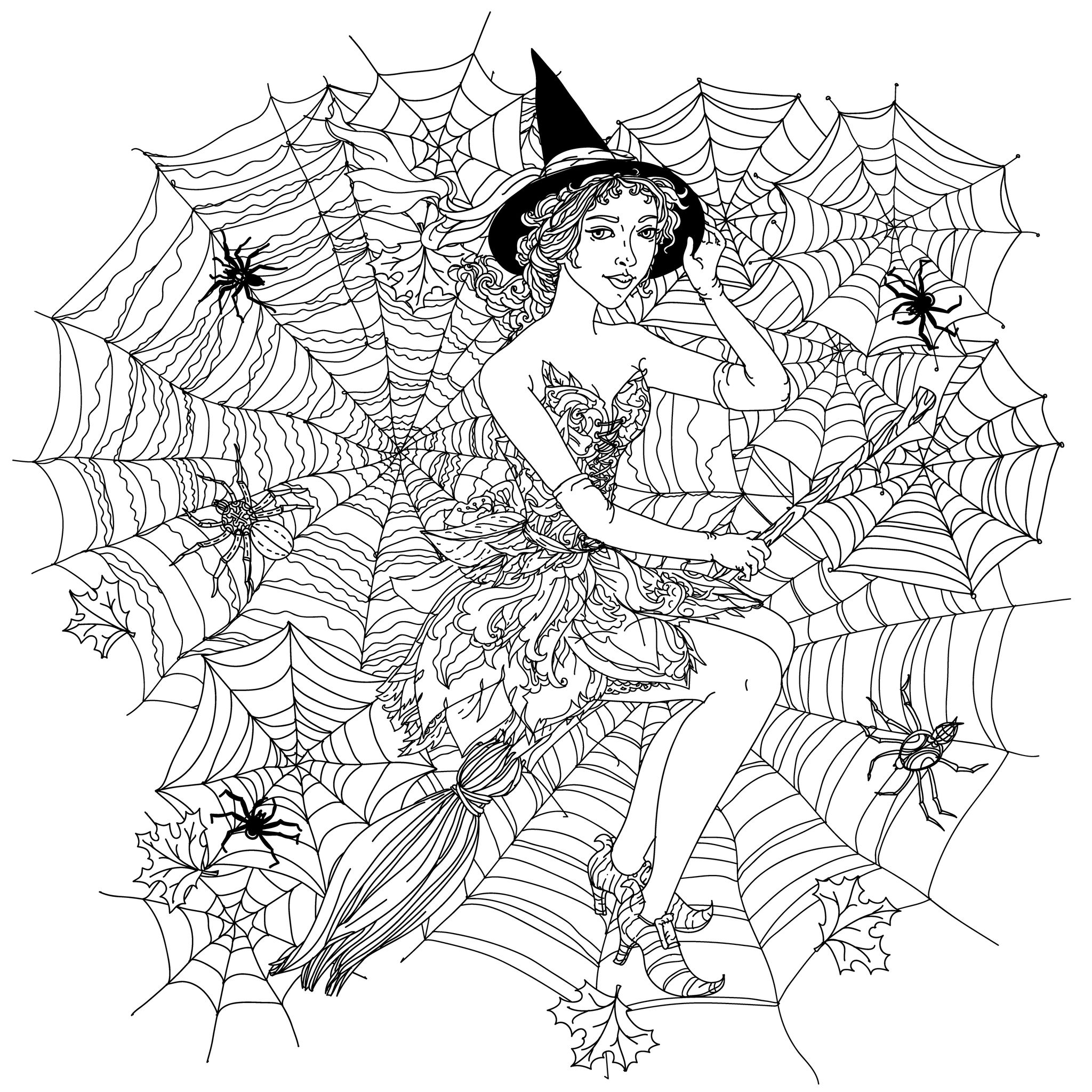 46314974 - beautiful fashion woman as a witch with design with cobwebs, spiders and other decorations on halloween, could be used for coloring book. black and white in zentangle style.