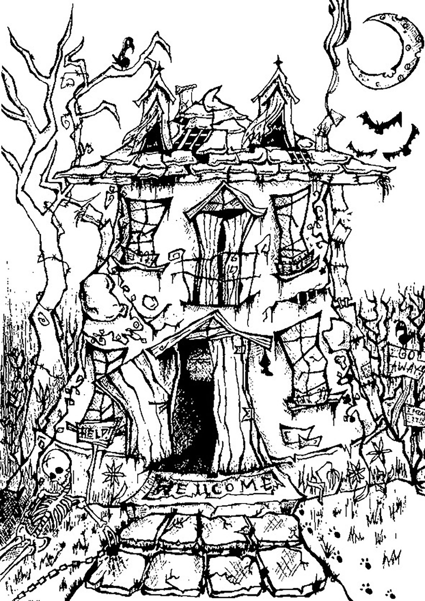 Halloween chateau effrayant coloriage halloween - Chateau disney coloriage ...