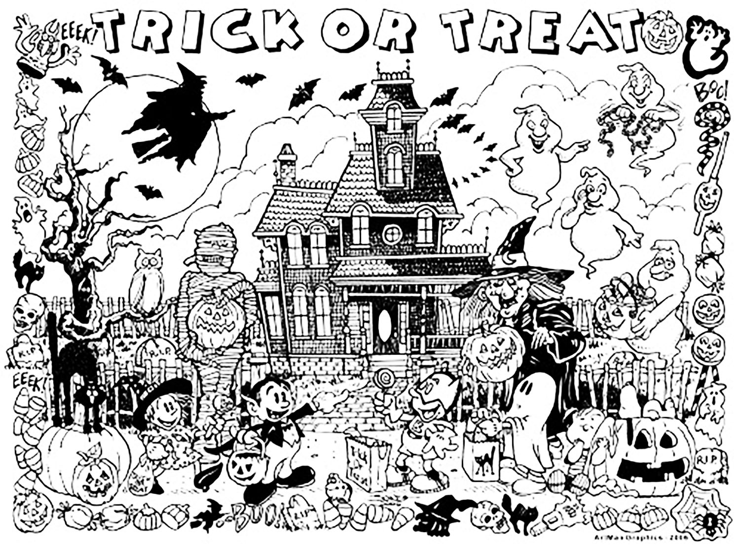 Halloween chateau hante trick or treat coloriage - Chateau disney coloriage ...