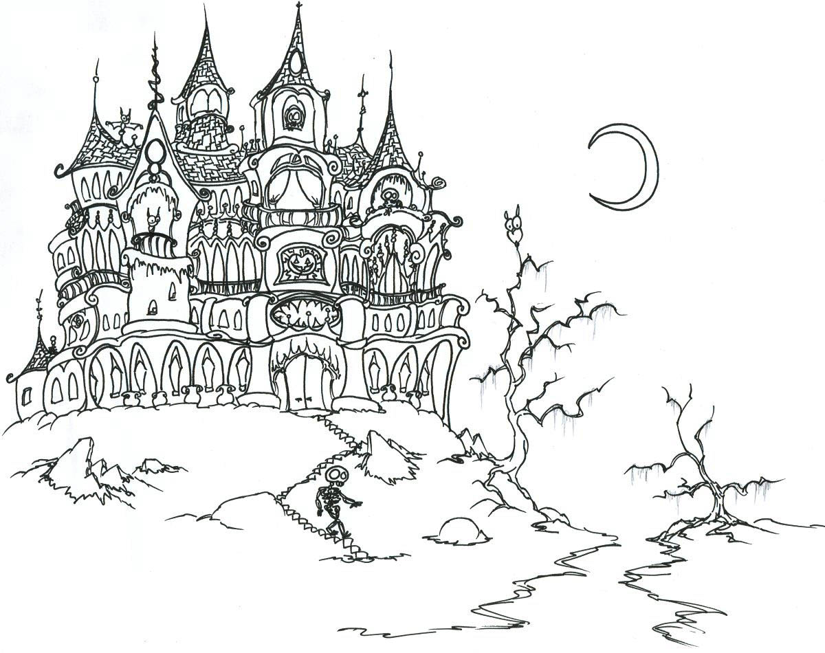 Halloween chateau hante coloriage halloween coloriages - Site coloriage ...