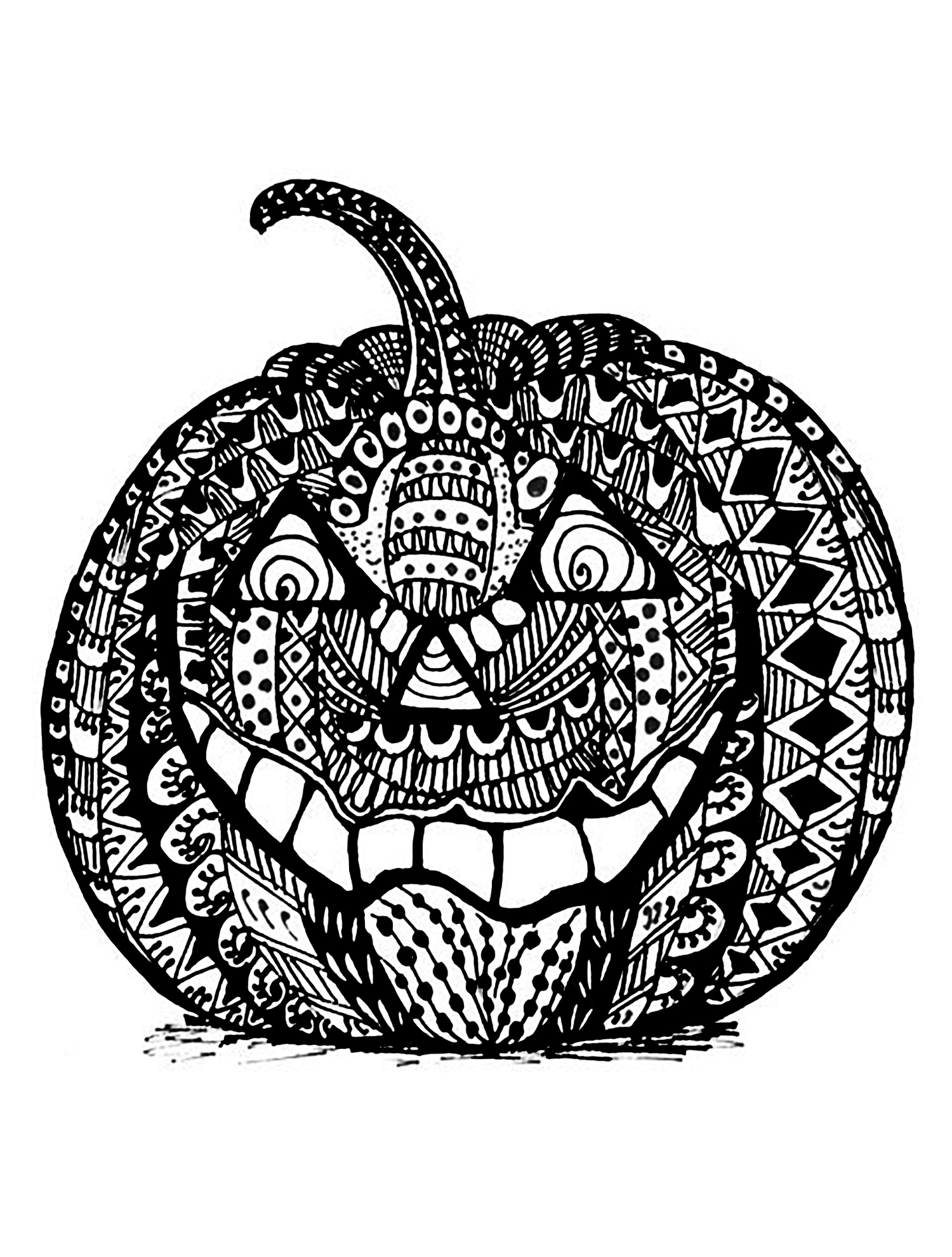 Halloween Citrouille Complexe Zentangle Coloriage Halloween