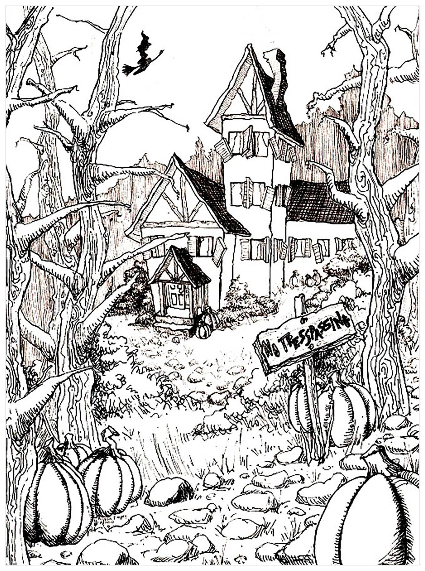 Halloween dessin maison hantee complexe coloriage halloween coloriages pour enfants page 2 - Dessin de maison hantee ...