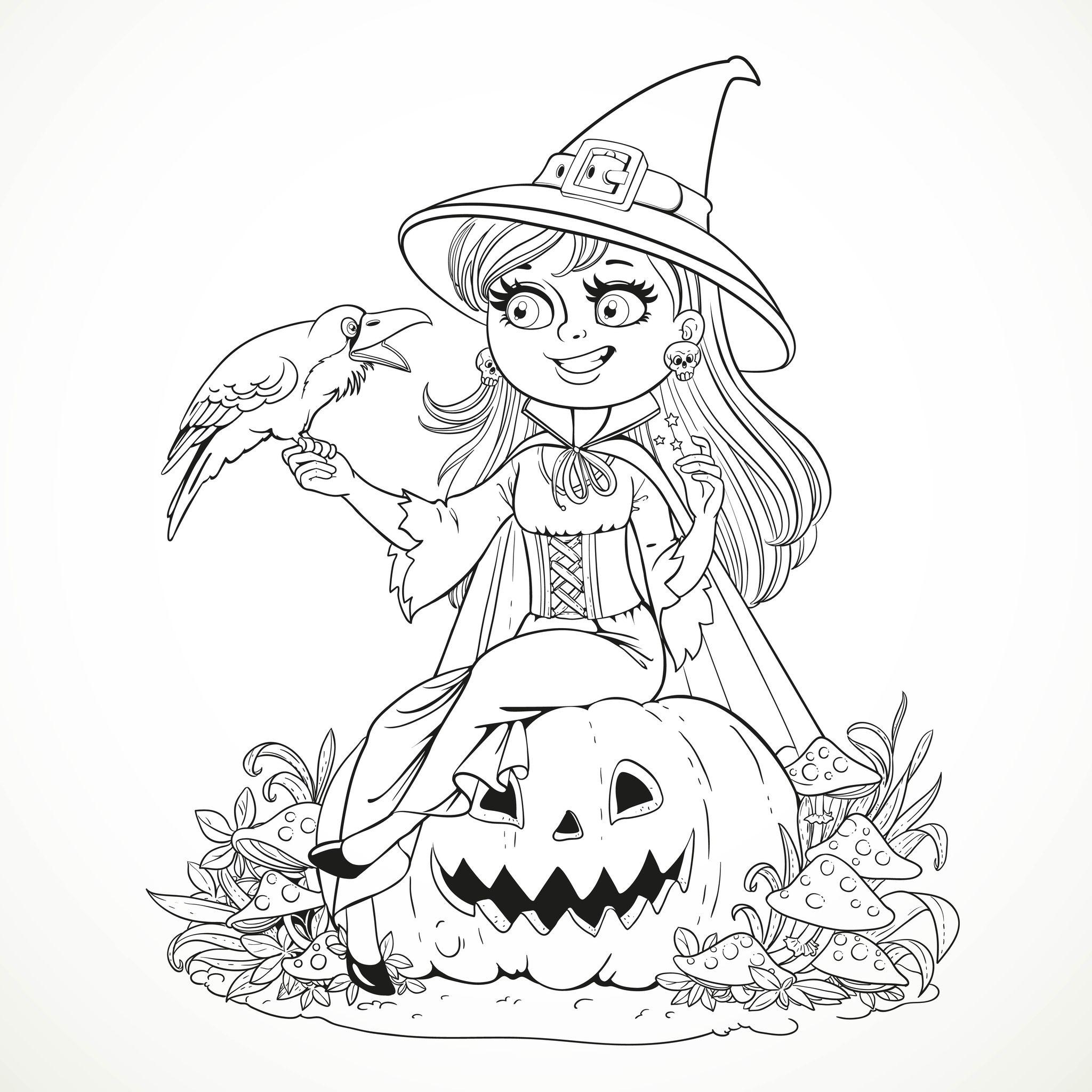 image=coloriages halloween coloriage halloween gentille sorciere et son corbeau 1