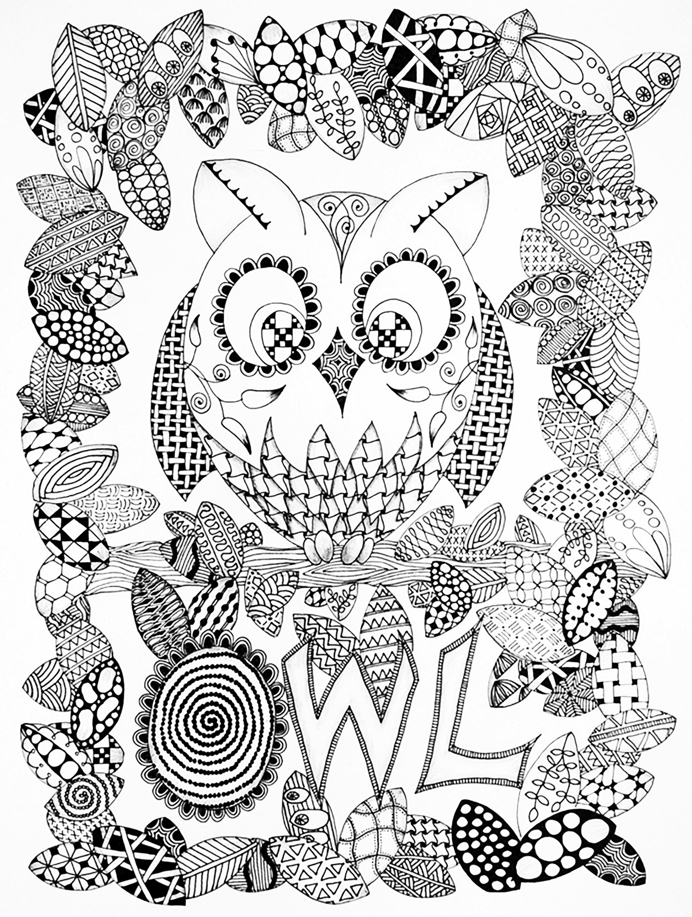 halloween hibou coloriage halloween coloriages pour enfants page 2. Black Bedroom Furniture Sets. Home Design Ideas