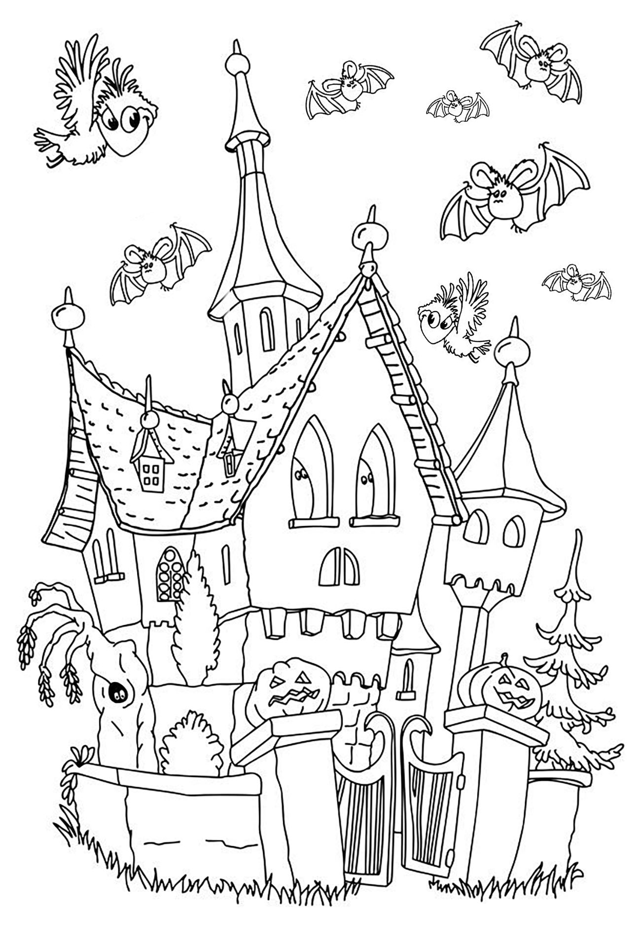 Halloween maison hantee simple coloriage halloween - Coloriages d halloween ...