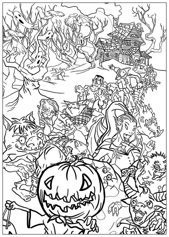 Halloween monstres reunis coloriage halloween - Dessin monstre halloween ...