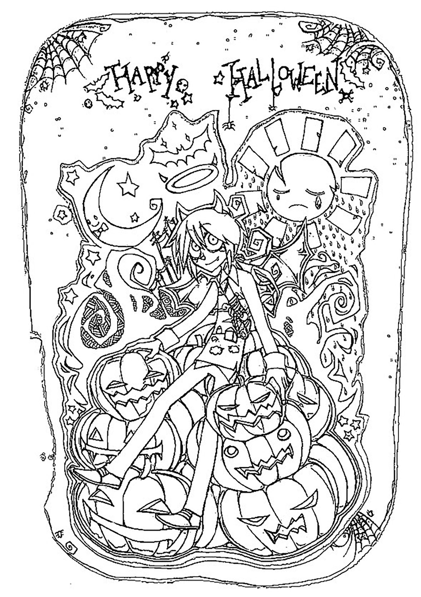 Coloriage anti stress halloween - Anti coloriage ...