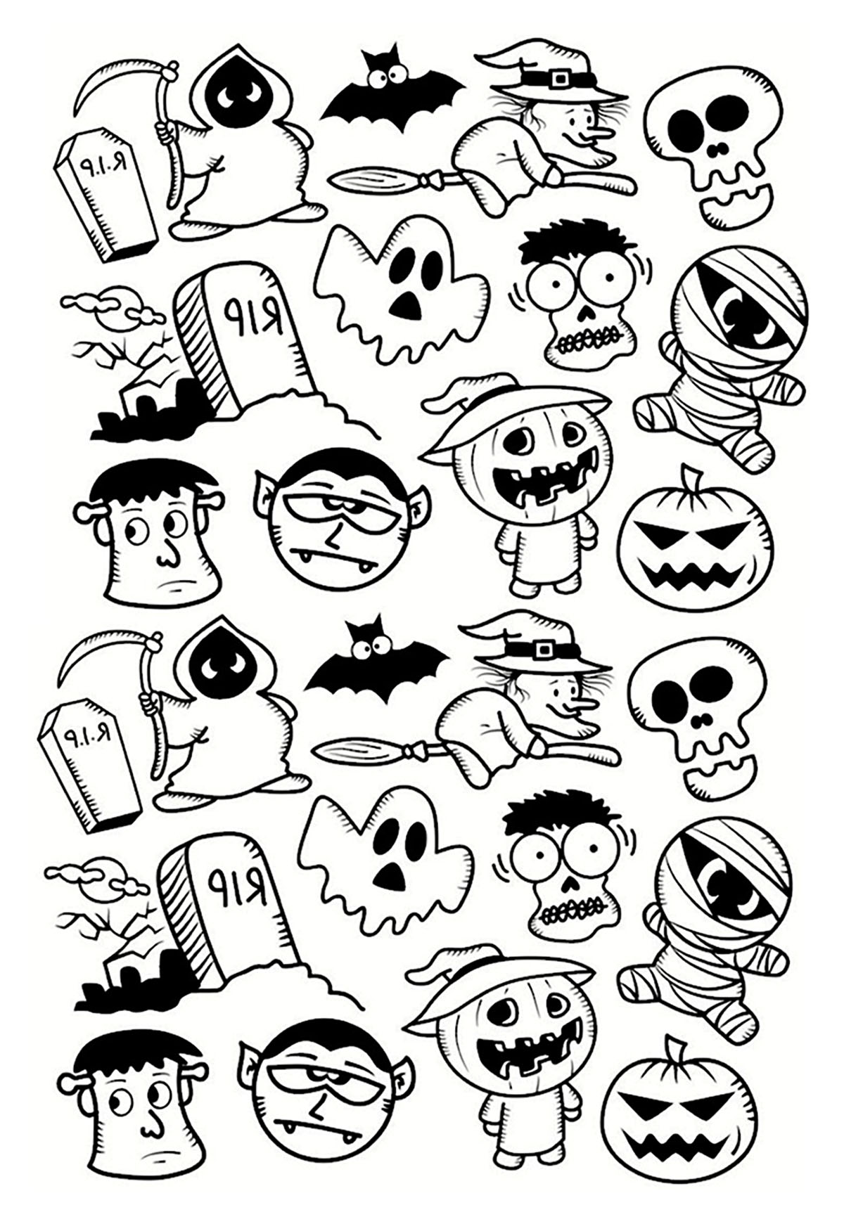 halloween personnages doodle coloriage halloween coloriages pour enfants page 3. Black Bedroom Furniture Sets. Home Design Ideas